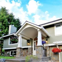 Home Remodeling Outdoor Split Level Remodel Exterior Design Ideas, Remodels Ranch Exterior, Exterior Remodel, Garage Exterior, Garage Remodel, House With Porch, House Front, House Yard, Split Level Exterior, Split Level Entry