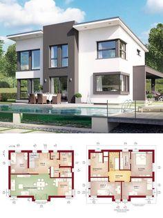Einfamilienhaus modern mit Pultdach & Querhaus - Haus bauen Grundriss Fertighaus Evolution 148 V9 Bien Zenker Hausbau - HausbauDirekt.de