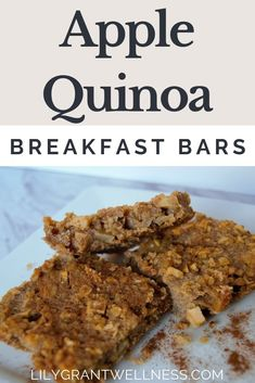 These healthy and easy Apple Quinoa Breakfast Bars are like a healthier version of apple pie! This recipe is easy to make ahead and doesn't require a fancy kitchen. These breakfast bars have oatmeal for the perfect texture and are dairy free low in sugar. Quinoa Breakfast Bars, Healthy Vegan Breakfast, Breakfast Ideas, Vegan Brunch Recipes, Dairy Free Recipes, Chicken And Waffles, Glass Baking Dish, How To Cook Quinoa, Apple Recipes