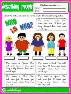 DESCRIBING PEOPLE WORKSHEET #
