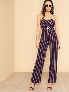 323bfc9bc083 Shop Strapless Sweetheart Keyhold Striped Jumpsuit NAVY MULTI online. SheIn  offers Strapless Sweetheart Keyhold Striped