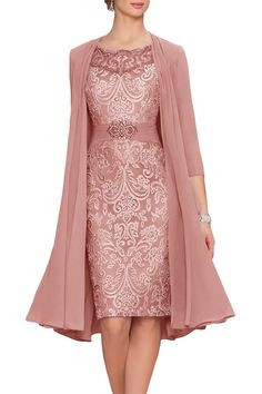 Cute Dusty rose Chiffon Mother Of The Bride Dresses Tea Length Two Pieces With Jacket