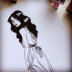 ink doodle sketch drawing girl animation. Illustration Inspiration