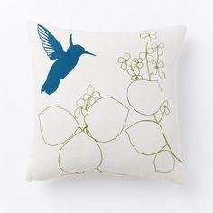 Outdoor Hummingbird Flower Pillow | west elm