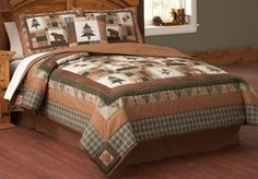 Bear Moose Head Lodge *Full Queen or King* Quilt Set Log Cabin Rustic Comforter Rustic Comforter Sets, Rustic Bedding, Luxury Bedding Sets, Bedding Decor, Primitive Bedding, Coverlet Bedding, Rustic Quilts, King Quilt Sets, Queen Quilt