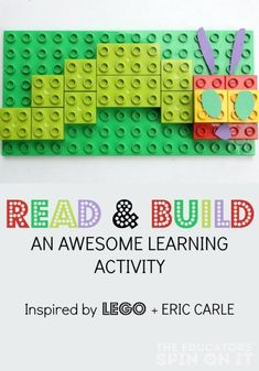 Read and Build a LEGO and Eric Carle inspired story retelling activity for The Very Hungry Caterpillar. Retelling Activities, Lego Activities, Reading Activities, Eric Carle, Lego Duplo, The Very Hungry Caterpillar Activities, Caterpillar Book, Kindergarten, Story Retell