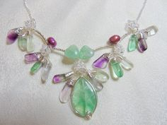 fluorite, freshwater pearls and swarovski crystals
