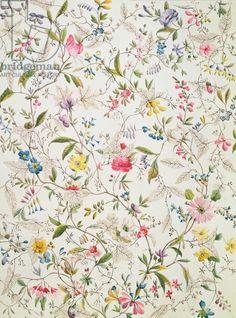 Wild flowers design for silk material, c.1790 (w/c on paper) via Bridgeman Images - artist William Kilburn