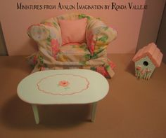 Miniature dollhouse coffee table in hand painted shabby chic mint for Barbie Blythe 1:6th scale (can be cut down for use in 1 12th scale) by MiniaturesfromAvalon