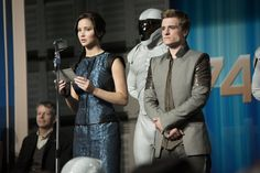 After the Games, things will never be the same... Katniss Everdeen and Peeta Mellark (Jennifer Lawrence and Josh Hutcherson) lead the 74th Victory Tour in The Hunger Games: #CatchingFire.    (Photo credit: Murray Close)