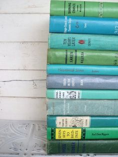 Green & Blue Instant Library By Color Collection Vintage Decorative Books Photography Props Aqua Teal Turquoise