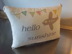 Nursery pillow hello sunshine throw pillow by SweetMeadowDesigns