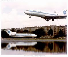 Two Pan Am 727-100s at Berlin Tempelhof early 1970.