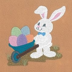 Easter Bunny with Wheelbarrow - 5x7 | What's New | Machine Embroidery Designs | SWAKembroidery.com Starbird Stock Designs