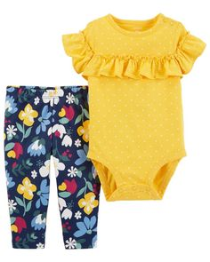 Crafted in soft cotton, this 2-piece set features a polka dotted bodysuit and sweet floral printed pants to keep her cute and colorful!