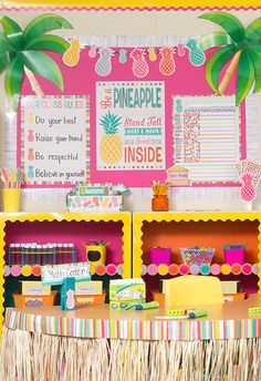 The Tropical Punch classroom theme from Teacher Created Resources is a great way to add a fun and vibrant feel to the classroom, office or party!  Full of adorable pineapples, rustic wood, and bright colors like pink, yellow, gray, orange and more, it's sure to add fun to any space.