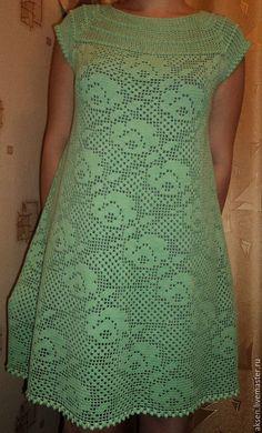"""Платья ручной работы. Ярмарка Мастеров - ручная работа. Купить Платье """"МЯТНОЕ"""". Handmade. Зеленый, ажурное платье, вязание на заказ"""