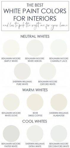 The best white paint colors for interiors. Also includes tips on how to select the best one for your home and how to know when you need a neutral white warm white or cool white. Painting Moving Decor and Organization Wall Paint Colors, Bedroom Paint Colors, Interior Paint Colors, Paint Colors For Home, Off White Paint Colors, Best Neutral Paint Colors, House Colors, Bright Colors, Best White Paint