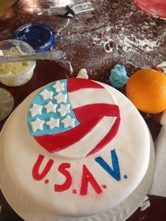 Spell out USAV creatively... So I made a cake! Hope y'all like it