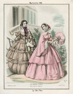 zeehasablog:  Fashion plate from Le Bon Ton, September 1857.