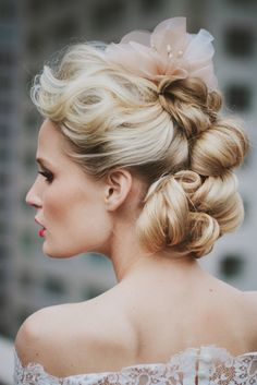 Stylish updo | Rebekah Senter Photography | see more on: http://burnettsboards.com/2014/03/modernly-romantic-nyc-bride/