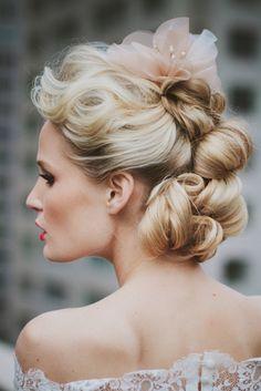 Stylish updo | Rebekah Senter Photography | see more on: http://burnettsboards.com/2014/03/modernly-romantic-nyc-bride/
