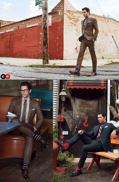 James Marsden, GQ, Suit, Tie, Pattern Mix, Unexpected Color Combinations, Menswear, Men's Style