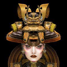 "Samurai Geisha Masque - 16"" x 16""Digital painting by E.Trostli"