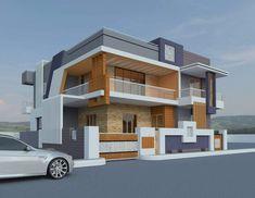 Duplex House Plans, Bungalow House Design, House Front Design, Small House Design, Modern House Design, House Paint Exterior, Dream House Exterior, Exterior Design, South Facing House