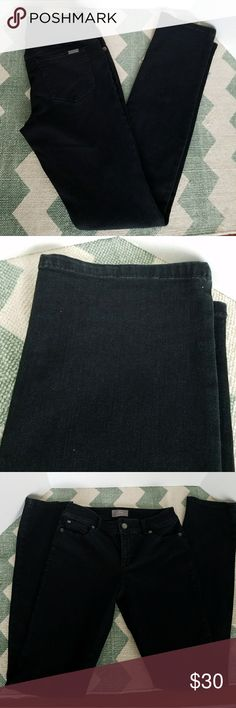 {Chico's} So slimming black jeans Size 2 tall Inseam - 34 inches Waist - 15 inches (measured flat) Leg opening - 7 inches (measured flat) Please use the Chico's size chart provided.  Photos are the description of this article. Any flaws will be pointed out and noted. Otherwise this article is in excellent condition. Chico's Jeans Skinny