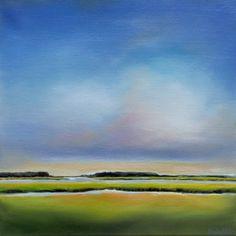 "Contemporary marsh landscape painting ""Daybreak Marsh II"" 12x12 oil"