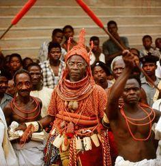 Edo Kingdom of Benin (Nigeria) King Akenzua II in coral regalia during palace ceremony. 1964.