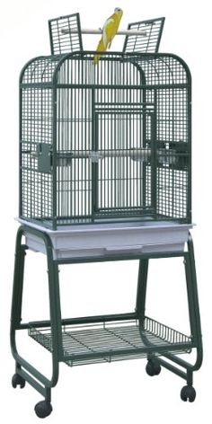 BirdsComfort HQ Flat Open Cockatiel Bird Cage with Cart Stand 22x17  Brass ** Want to know more, click on the image.