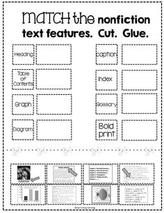 Text and Graphic Features Worksheets Free Nonfiction Text Features Matching Activity 2nd Grade Ela, Third Grade Reading, 3rd Grade Classroom, Second Grade, Grade 3, Classroom Ideas, Fourth Grade, Future Classroom, School Classroom