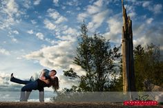 Matt taking Chelsea for a dip. #portrait #engagement #couple #thedip #clouds #tubbshill #coeurdalene #idaho