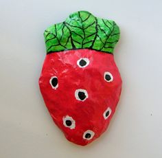Magnet Red and Green Upcycled Paper Mache Clay by RecycoolArt, $10.00