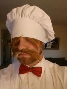 "Chant ""bork, bork, bork!"" if you go as the Swedish Chef from the The Muppet Show. What you need to do: Get a chef hat, red bow tie, and white button-down shirt. The key is to cut up fake hair for the bangs and mustache. Source: Reddit user nyghtspydr via Imgur"