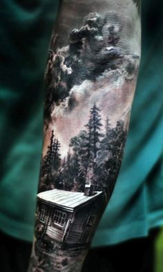 40 Log Cabin Tattoo Designs for Men Flat Ink Ideas Half Sleeve Tattoos For Guys, Cool Tattoos For Guys, Best Sleeve Tattoos, Body Art Tattoos, Tattoos For Women, Nature Tattoo Sleeve, Tattoos Pics, Sleeve Tattoo Men, Forest Tattoo Sleeve