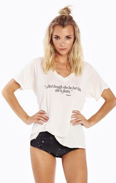 'And though she be but little, she is fierce.' Echo Shakespeare's sentiment in our easy, relaxed tee in a super soft and lightweight cotton jersey. Featuring a v-neck and a roomy fit. In Pearl White.  100% Cotton  Model wears a size small