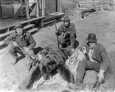 1910 Black Bear shot in Saltese, Montana. Interestingly enough the hunting dogs seem to be Rough Collies. Vintage Pictures, Old Pictures, Old Photos, Rough Collie, Collie Dog, Dexter Season 9, Montana Ranch, Bear Hunting, Dog Poses