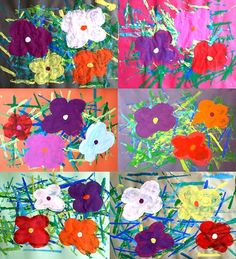 Andy Warhol Flowers, Andy Warhol Art, Classroom Art Projects, Art Classroom, Spring Art, Spring Crafts, Flower Crafts, Flower Art, Early Education
