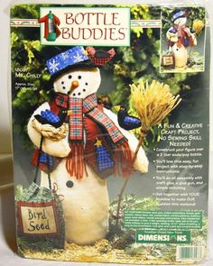 Snowman Christmas Craft Kit Bottle Buddies Mr. Chilly by Dimensions Easy Fun New #Dimensions