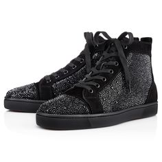 """""""Louis Flat Strass"""" makes any ensemble an instant success.  Cloaked in smooth black suede and stunning hand laid Swarovski crystals, he will work the crowd wherever he goes."""