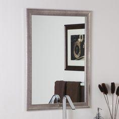 Decor Wonderland SSM65 Silvertone Distressed Framed Wall Mirror