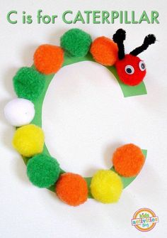 Alphabet Activities: C is for caterpillar craft. Kids Crafts, Abc Crafts, Daycare Crafts, Toddler Crafts, Craft Kids, Stick Crafts, Summer Crafts, Resin Crafts, Preschool Letter Crafts