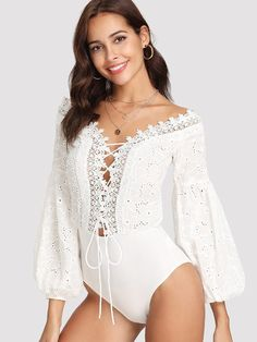 66c82e45f6 Lace Trim Plunge Neck Eyelet Embroidered Bodysuit -SheIn(Sheinside) White  Lace, Lace