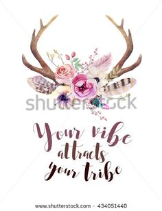 Watercolor floral boho antler print.  western bohemian decoration. Hand drawn vintage deer horns with flowers, leaves and herbs. Eco style hipster illustration on white. - stock photo