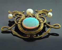 Opal Art Nouveau Dragon Brooch - Yellow Gold with Opal and Pearls