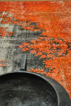 Orange & Black overdyed vintage rug