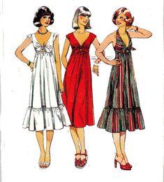 Style 1944 - beautiful halter dress for the summer Dress Making Patterns, Vintage Dress Patterns, Clothing Patterns, 70s Fashion, Fashion History, Fashion Dresses, Vintage Fashion, Robes Vintage, Vintage Dresses